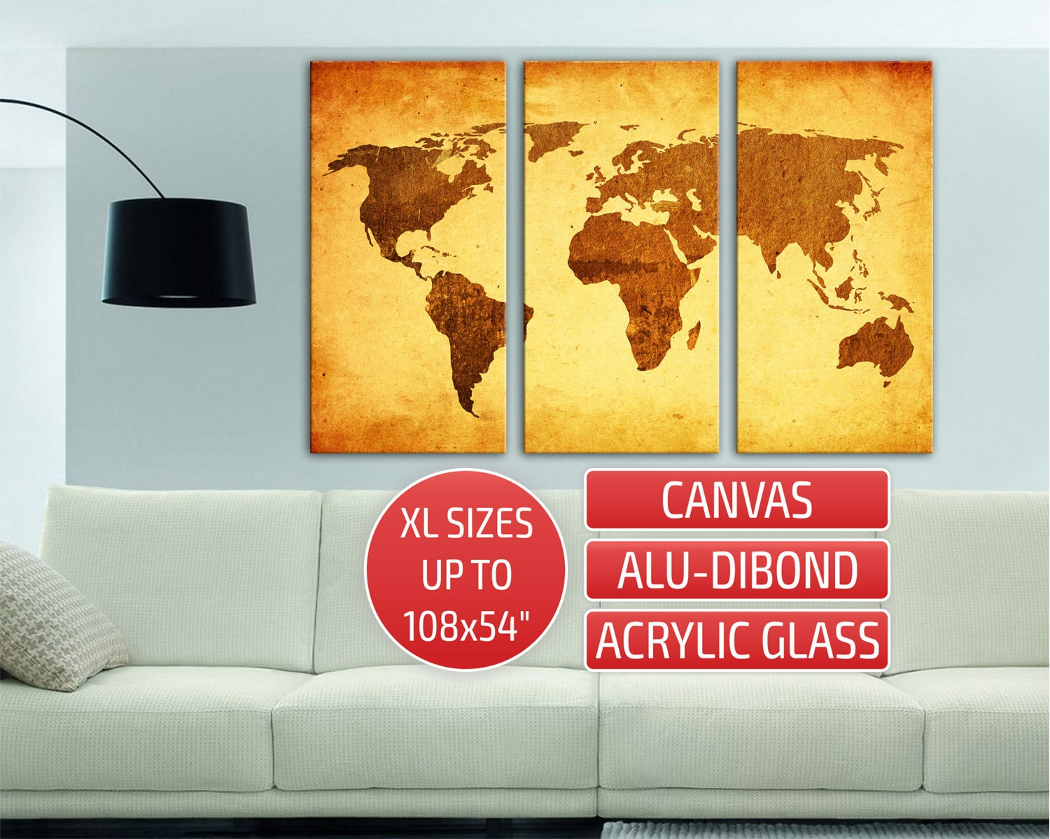 Golden World Map Triptych Metal wall art Gallery wrapped
