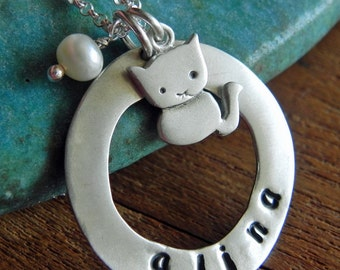 Personalized cat necklace in sterling silver hand stamped with name monogram or initial - gift for mom