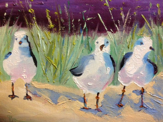 Bird Painting, Birds at the Beach, Landscape Painting, Small Art