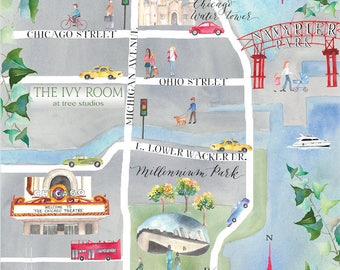 Watercolor Wedding Map, Custom Stationery, Handpainted, One of a kind