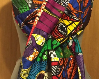 Extra Large African Wax Print 100% Cotton Infinity Scarf Patchwork 8ft Loop!