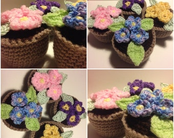 Handmade pots of flowers great for mothers day! Everlasting can be made in your choice of colours x