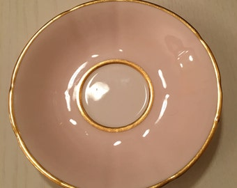 Clare Bone China - Saucer Only - Made in England - Pink and White with Gold Trim