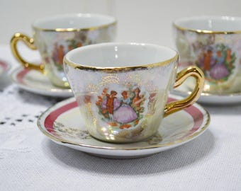 Victorian Style Cup and Saucer Set of 4 Demitasse Teacup Colonial Couple Iridescent PanchosPorch