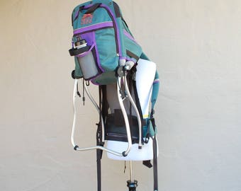 Vintage Kelty Kids Carrier Aluminum External Frame Backpack Daypack Turquoise Purple 90s Mountaineering Hiking Hiker ~ Holds up to 50 pounds