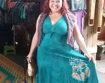 Womens Hand Painted Batik Bear Paw with Feathers Twisted Tank Dress