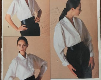 80's Vogue American Designer 2091 Perry Ellis Blouse with Collar and Sleeve Variations, Size 14, 16, 18