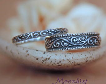 Scroll Wedding Band Set - Sterling Silver Wedding Ring Set - Wide Band Ring and Thin Band Set - Flourish Rings - Stacking Ring Wedding Set