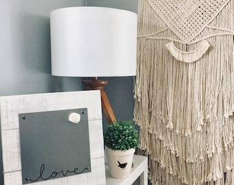 Modern Farmhouse - Love - Magnet Board - Desktop - Distressed White - Message Board - Dry Erase Board - Wedding Gift - Farmhouse