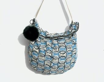 /Tissu handbag / geometric / shoulder / cross body strap.