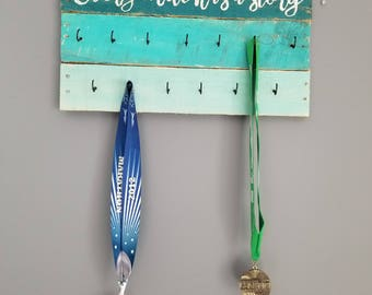 Running medal holder, Every mile has a Story rustic wood medal and race bib display, gift for runner