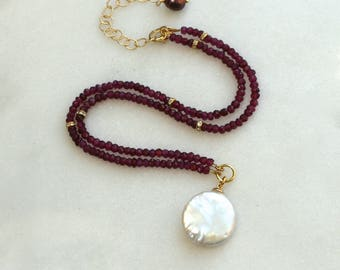 Huge Coin Pearl, Garnet Strand Pendant Necklace in 14kg fill....