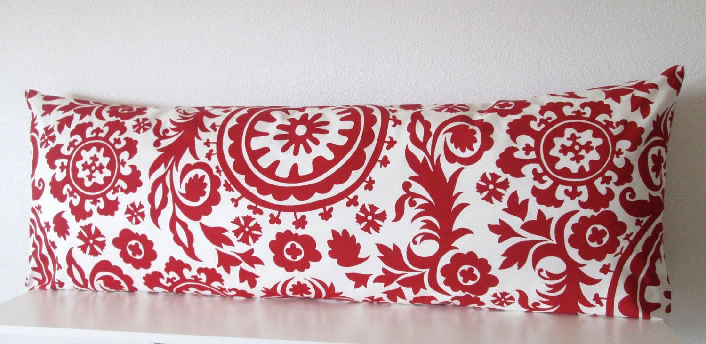 Body pillow cover Red White Suzani 19x19 Decorative