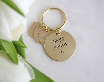Best Mummy - Mothers Day Gift Hand stamped Keyring personalised with names