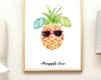 Pineapple wall art, print sale, pineapple print, pineapple home decor, tropical wall art, tropical wall art, tropical wall print, pineapple