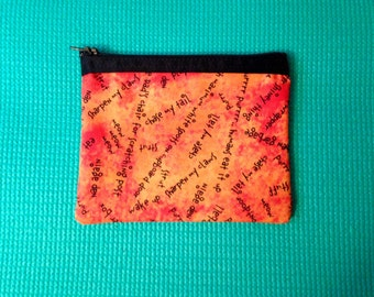 Cat Inspired Wallet, Zippered Pouch with Cat Words, Orange Zippered Wallet, Zippered Wallet with Cat Phrases, Cat Lover Wallet, Pouch