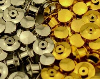 20 LOCKING PINBACKS lapel  enamel pin back silver gold