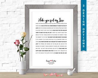 Wedding First Dance Song Lyrics Print, Poem Literary Art, Custom Lyric Art, Personalized, 1 year anniversary gift