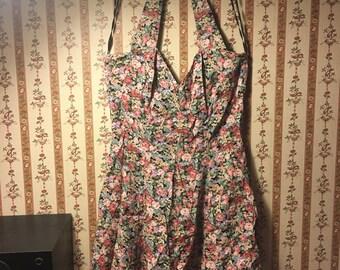 Vintage 80s floral sweetheart neck halter top dress