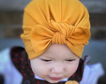 Mustard baby turban hat with bow, baby turban, newborn bow hat, hospital hat,  mustard newborn hat, baby bow hat