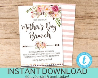 Mother's Day Invitation, EDITABLE Church Brunch Invite, Mothers Day Brunch, Pink Floral boho PRINTABLE, templett, Instant Download