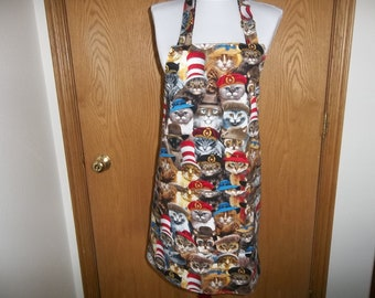 Cat Apron Womens Full Apron Reversible with Pockets