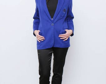 Rare Vintage retro 80's Blue Wool Versus Versace Blazer Jacket