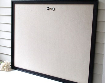 Supersized HUGE Magnetic Bulletin Board with 34 x 42 Handmade Wood Frame with Beaded Trim - Memo Message Board with Unbleached Cotton Fabric