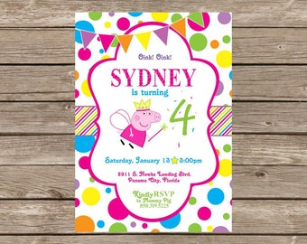Peppa Pig Polka Dot Birthday Invitation