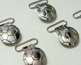 soccer ball round pacifier clip