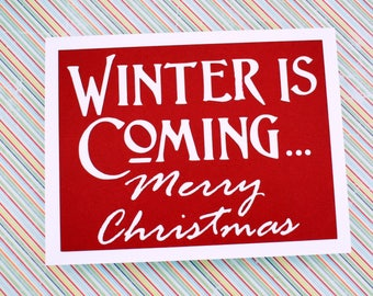 Handmade Greeting Card - Cut out Lettering - Winter is coming Merry Christmas - Blank Inside - Game of Thrones Inspired Christmas Card