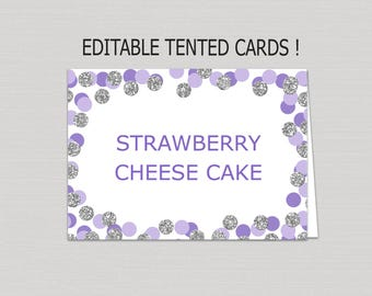 Editable Purple & Silver food tent card download, food tents printable, buffet cards, silver food tent card, blank confetti place cards B17