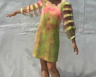 Vintage Tye-Dye Psychedelic Mini-dress