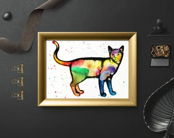 Printable, cat, watercolour, digital prints, pet lovers gift, home decor, cat art print, watercolour cat, instant download