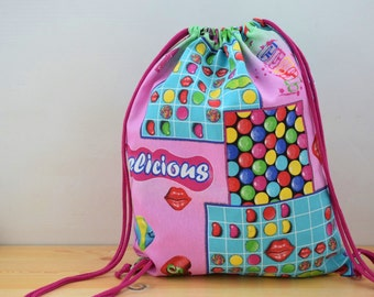 String backpack,candycrush,colors print fabric,candy crush fabric,fabric backpack,draw string backpack,draw string bag,pink backpack