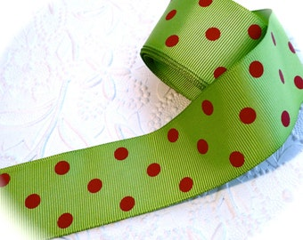 Lime Green & Red Polka Dot Grosgrain Ribbon Sewing Supplies T-133