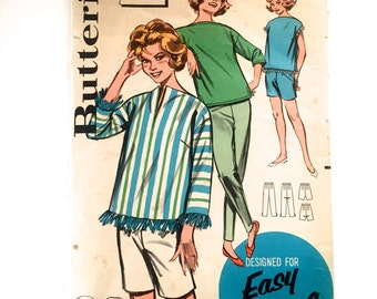 60s Butterick 9737 Sportswear Walking Bermuda Shorts, Slim Pants, OverBlouse with Bateau Neck, Long Sleeves or Sleeveless Size 11 Bust 31