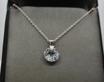 Sterling Silver Disco Ball Pendant Necklace