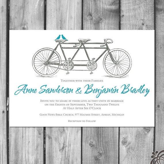 Tandem Bicycle Lovebirds Wedding Invitation Set