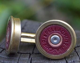 Wedding cuff links Shotgun cuff links Baschieri & Pellagri Gold/Red cuff links bullet jewelry 12 gauge cuff links