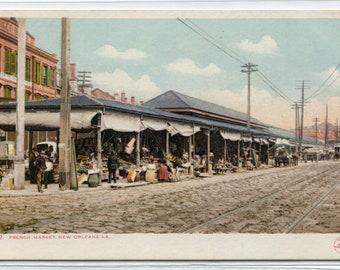 French Market New Orleans Louisiana 1907c postcard