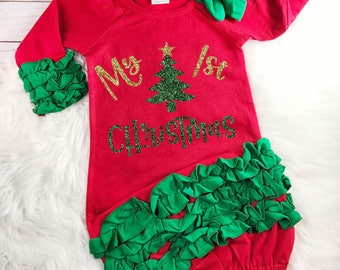 My 1st Christmas Outfit Baby Girl Christmas Outfit Baby's First Christmas Newborn Baby Shower Gift Christmas Gown Monogram Newborn Gown