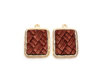 2pcs - Brown Velvet Square Pendant in Polish Gold Frame / velveteen pendant / brown velvet / 16k gold plated / 20mm x 29mm / BBRG363-P