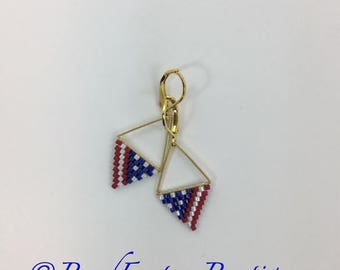 Small Red White and Blue 4th of July Patriotic Geometric Brick stitched Lightweight Earrings