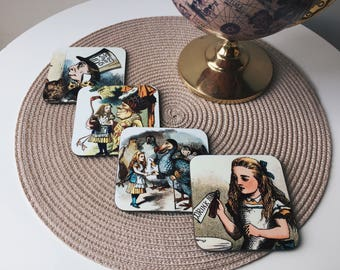 Alice in Wonderland Coasters - Set of 4 - Handmade Mad Hatter Flamingo Vintage Fantasy Kitsch Republic