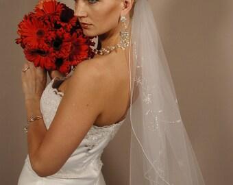 hand beaded wedding veil - hand embroidered wedding veil - WV135s