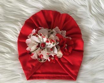 Turban red with flowers /ivory -red