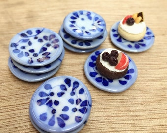 5 Miniature Plate,Ceramic Plate Miniature,Miniature food Plate,Dollhouse Plate,Small Plate,Dollhouse tray,Miniature tray,DIY