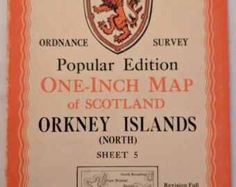 Original Vintage Ordnance Survey Popular Edition One-Inch Map of Scotland Orkney Islands (North) Sheet 5 published 1948
