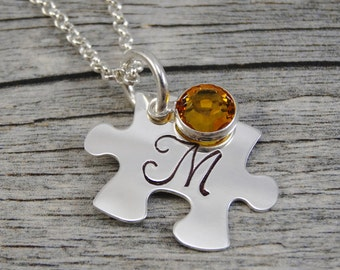 Autism Jewelry - Hand Stamped Jewelry - Personalized Jewelry - Mom Necklace - Sterling Silver - Small Puzzle Piece - Initial